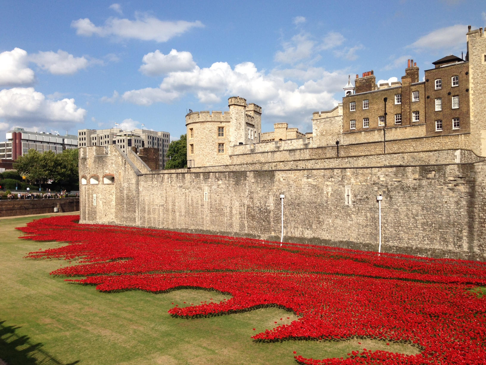 In commemoration of the 100th anniversary of the start of World War I, ceramic artist Paul Cummins created this  installation at the Tower of London , The sea of red is made up of individual ceramic poppies.