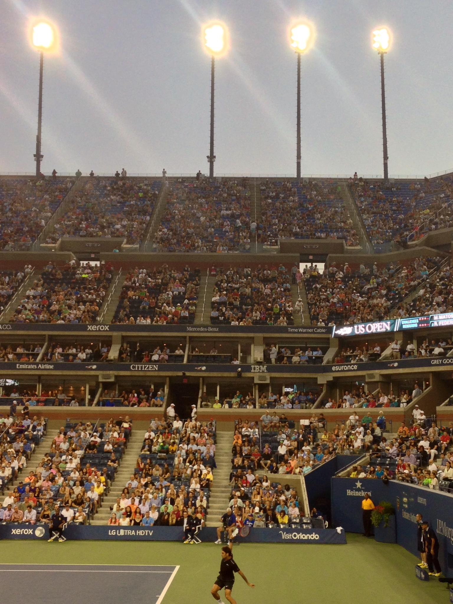 Roger Federer playing Marinko Matosevic of Australia at Arthur Ashe Stadium during first round of US Open.