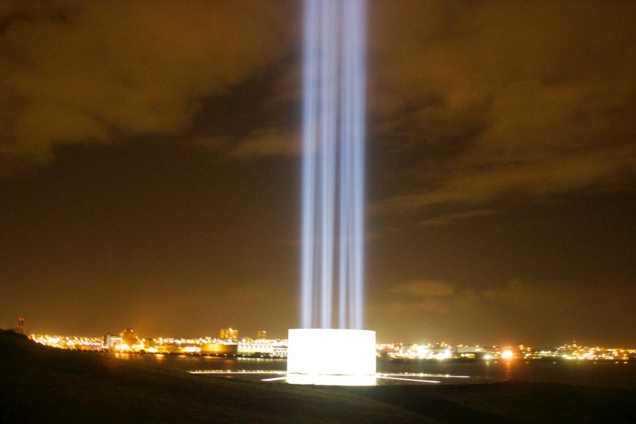 Imagine Peace Tower in Reykjavík, Iceland.