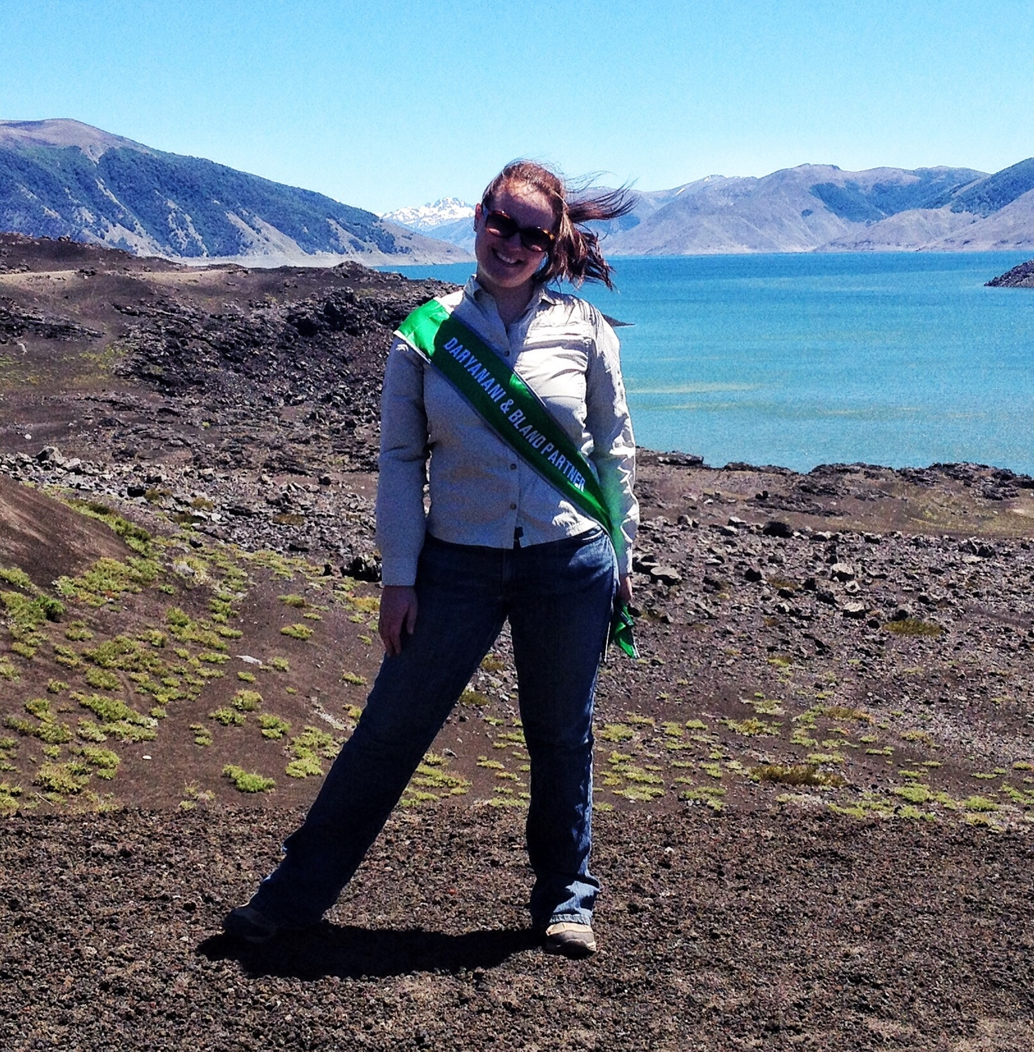 "Liz wore her ""partner sash"" on her recent trip to Chile because she wanted  everyone  to know her good news!"