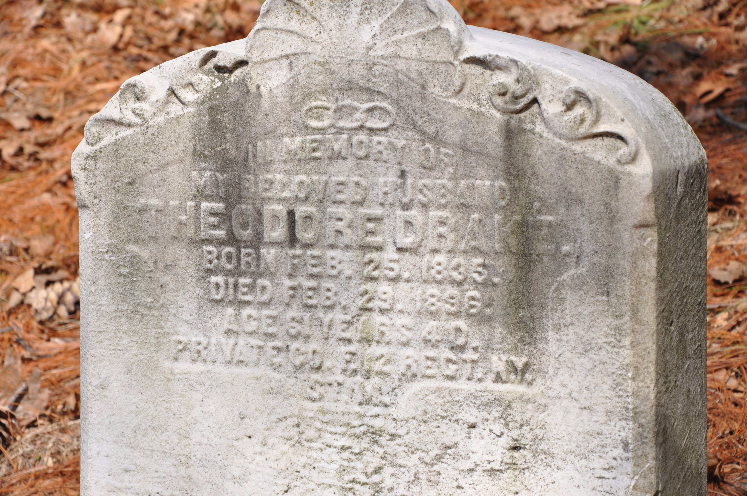 Theodore's tombstone in Greenwood Cemetery.