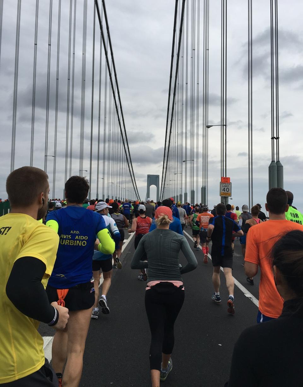 On the Verrazano–Narrows Bridge. Only twenty-six miles to go!