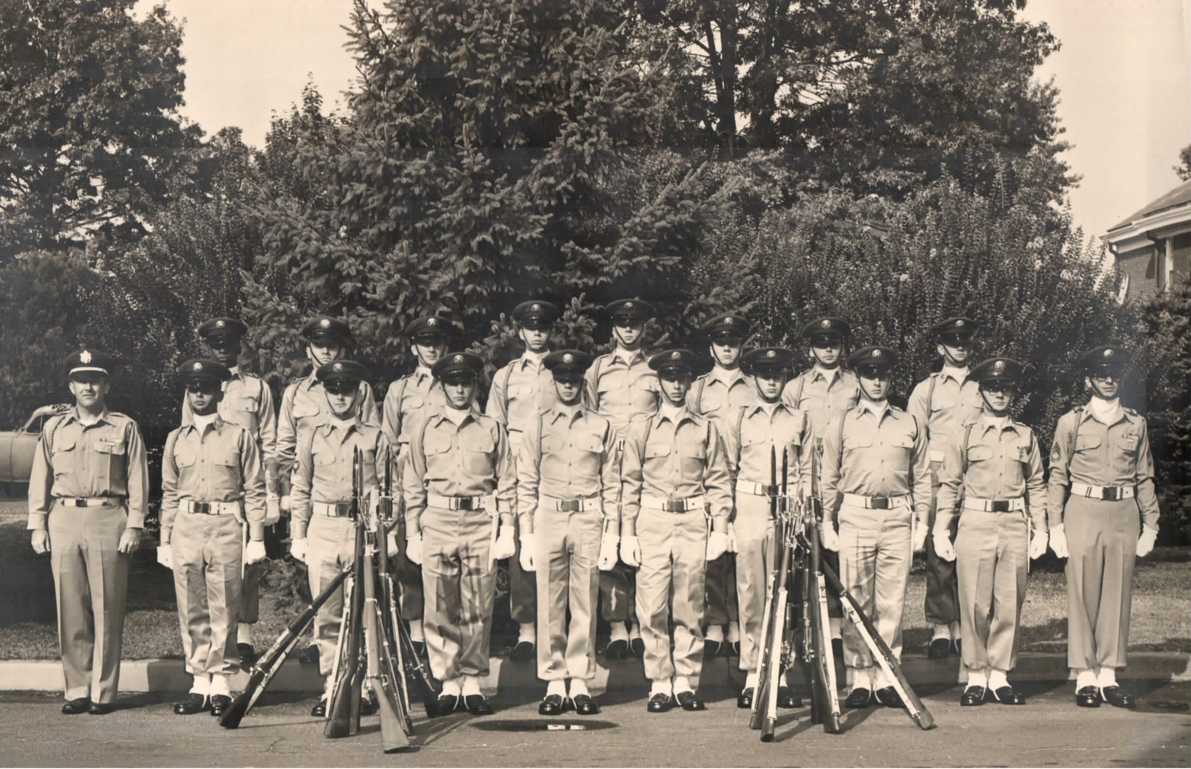 My father, Walter Blank, is in the front row, second from the left. 3rd US Infantry Regiment.