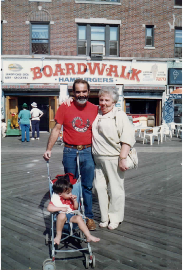 With my father and Grandma Dina at Coney Island.