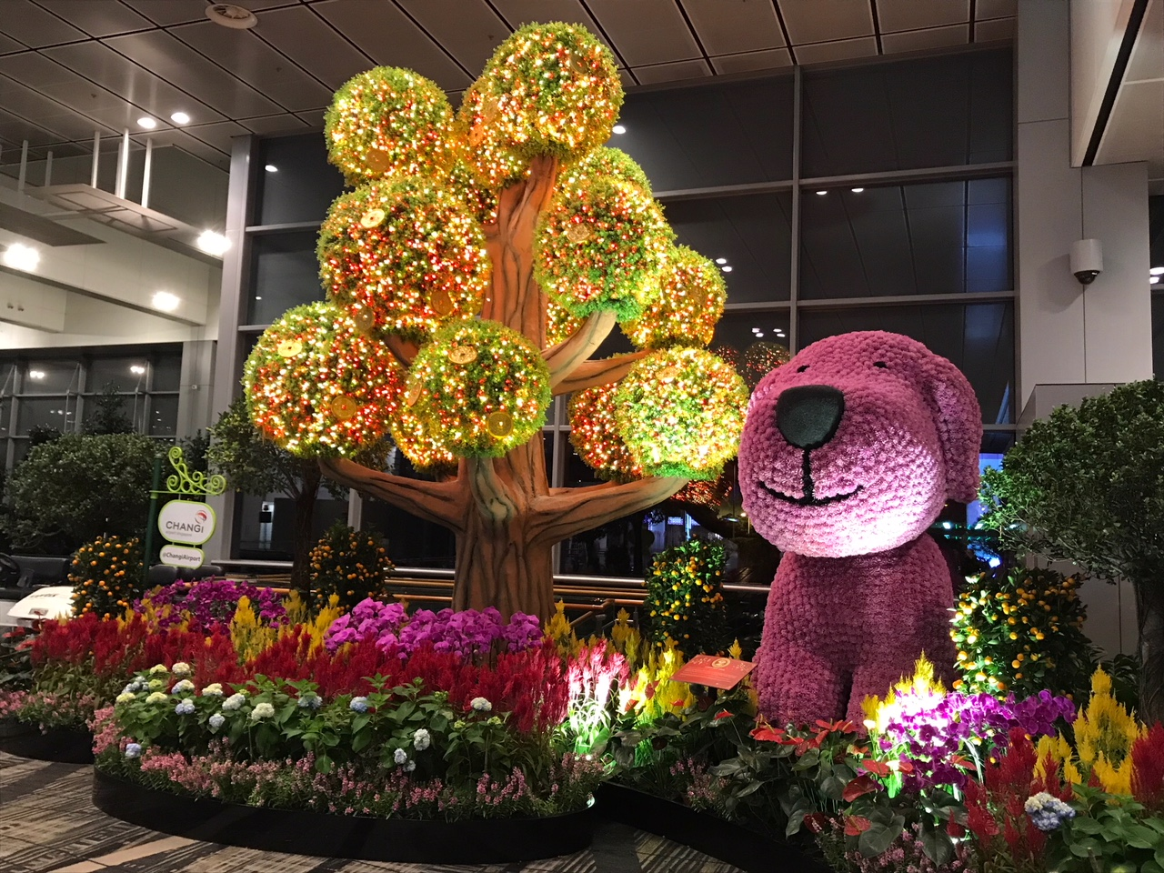 Lunar New Year decorations at Singapore Changi Airport. Hi, doggy!