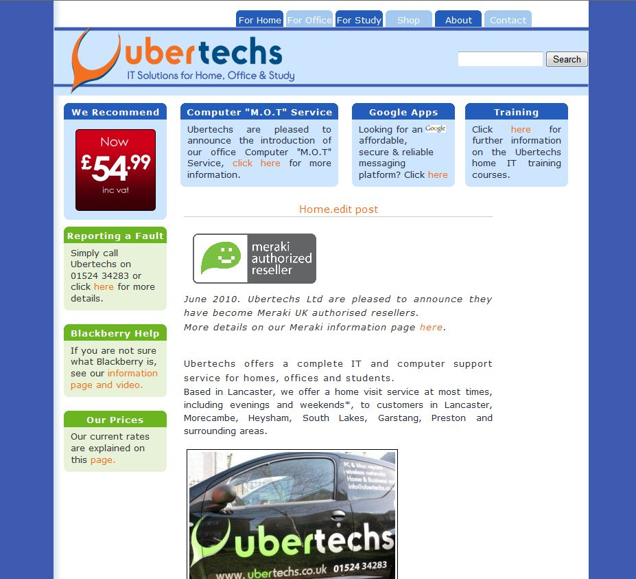 One of our early website designs.