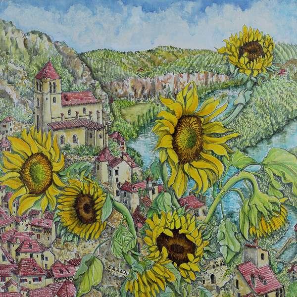 """Sunflowers in St Cirq Lapopie"""