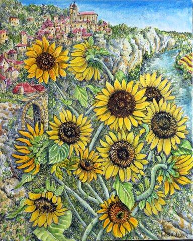 """Sunflowers, the River St Cirq Lapopie"""