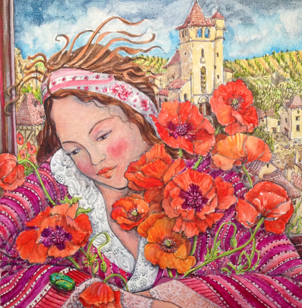 """""""Girl with Poppies and Beetle"""""""