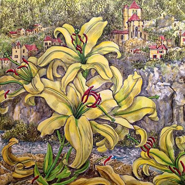 """Yellow Lillies , St Cirq Lapopie"""