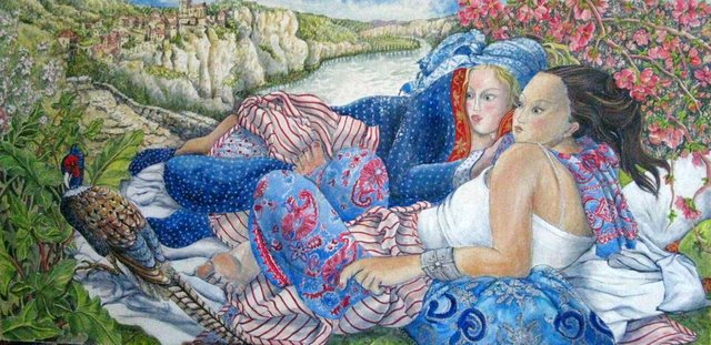 Welcome to the portfolio of paintings of artist Nerida de Jong . Nerida offers carefully observed tableaux with a dreamlike and intimate peep into the lives of  her subjects. Her inspiration draws on her early days in Australia,the Cook Islands and Fiji and then later  St Cirq Lapopie in France and now  from the beautiful Greek Island of Skopelos. Nerida works with acrylic on canvas or watercolour on handmade paper.