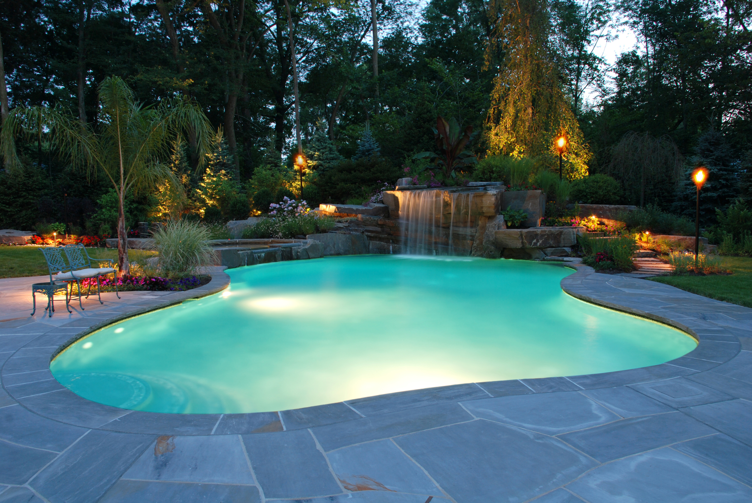 tranquil-color-led-and-fiber-optic-waterfall-lights-inground-pool-installation-allendale-new-jersey.jpg