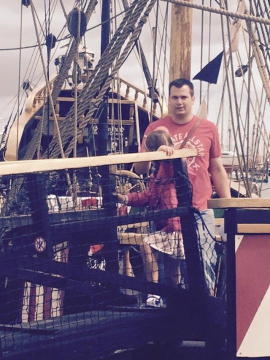 "Not a great picture but both myself and my daughter on the full replica pirate ship, it was a great thing to see and I realised that a 6'5"" man would not do well on a pirate ship, pirates must have been small men."