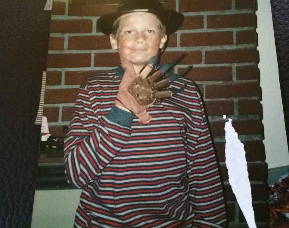 Me dressed as the Immortal and terrifying Fred Kruger when I was about 10 maybe a tad younger.  I won the grand prize of £5.00 in the fancy dress competition.  R.I.P Wes Craven