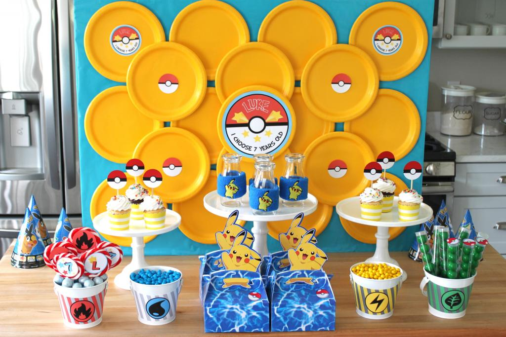 I love the backdrop here, just use some coloured plates either plastic or paper, glued onto a board.  Remember there are three colours you can choose from to match the teams that feature in Pokemon.  Team Valour (Red), Team Mystic (Blue), Team Instinct (Yellow). This would also be great to take pictures in front of too.