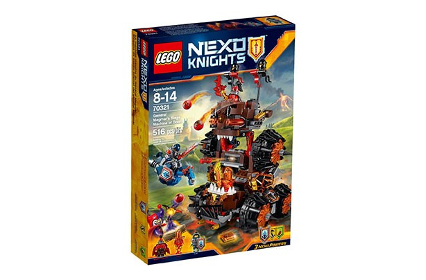 LEGO Nexo Knights General Magmar Siege Machine of Doom Construction Set - £30.00    What is it?  Phew - try saying that name in a hurry! This kit comes with   3 minifigures: General Magmar, Flama and Clay Moorington, and features red flame elements and spikes, monster teeth, cockpits for General Magmar and Flama, dual catapults and a disc shooter - hours of fun!