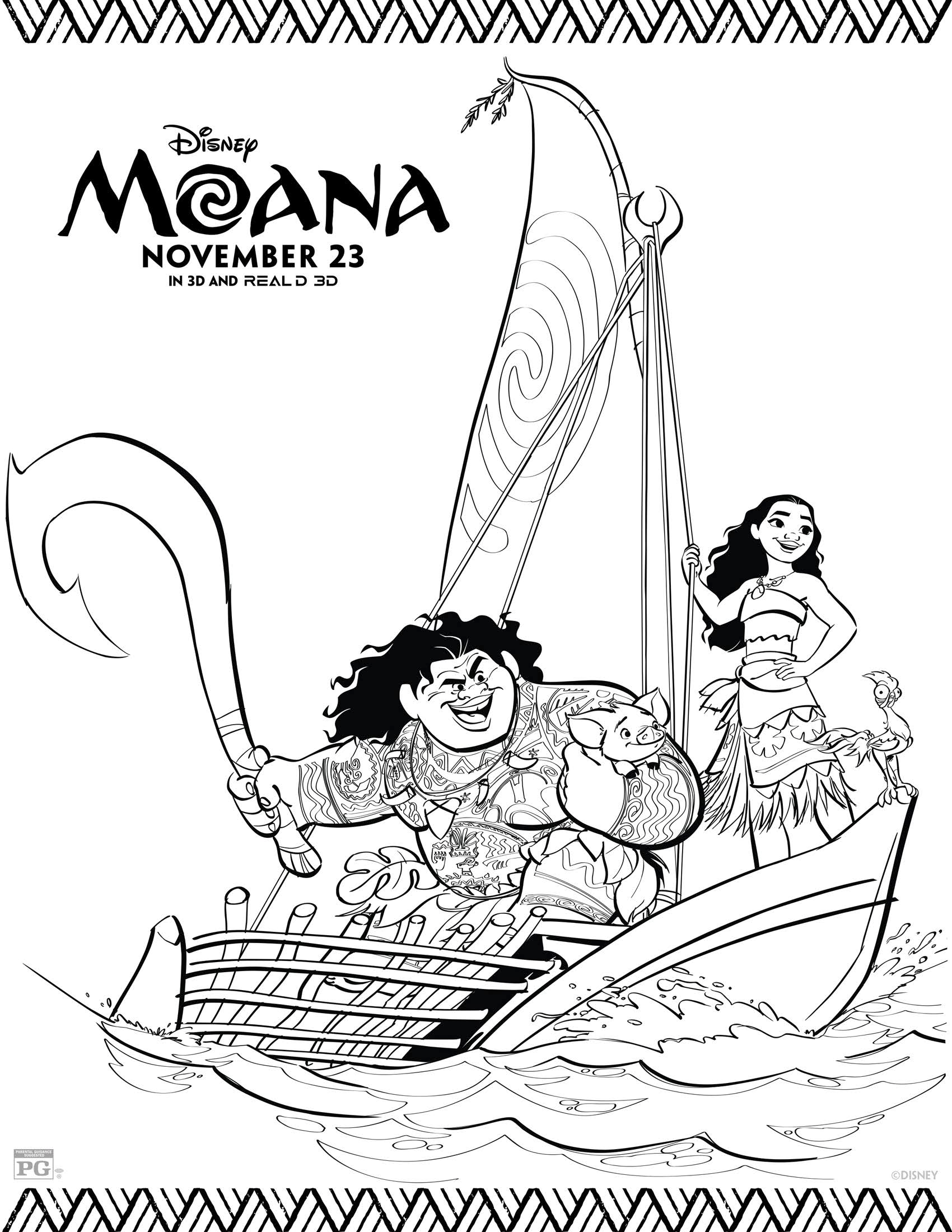 Moana Colouring Page Wonder Kids