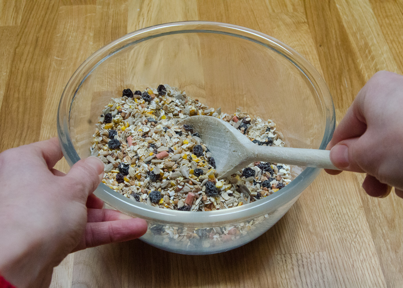 Combine bird food ingredients