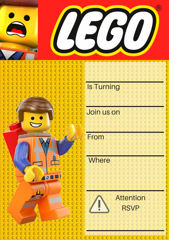 Wonder Kids Lego Party Invite