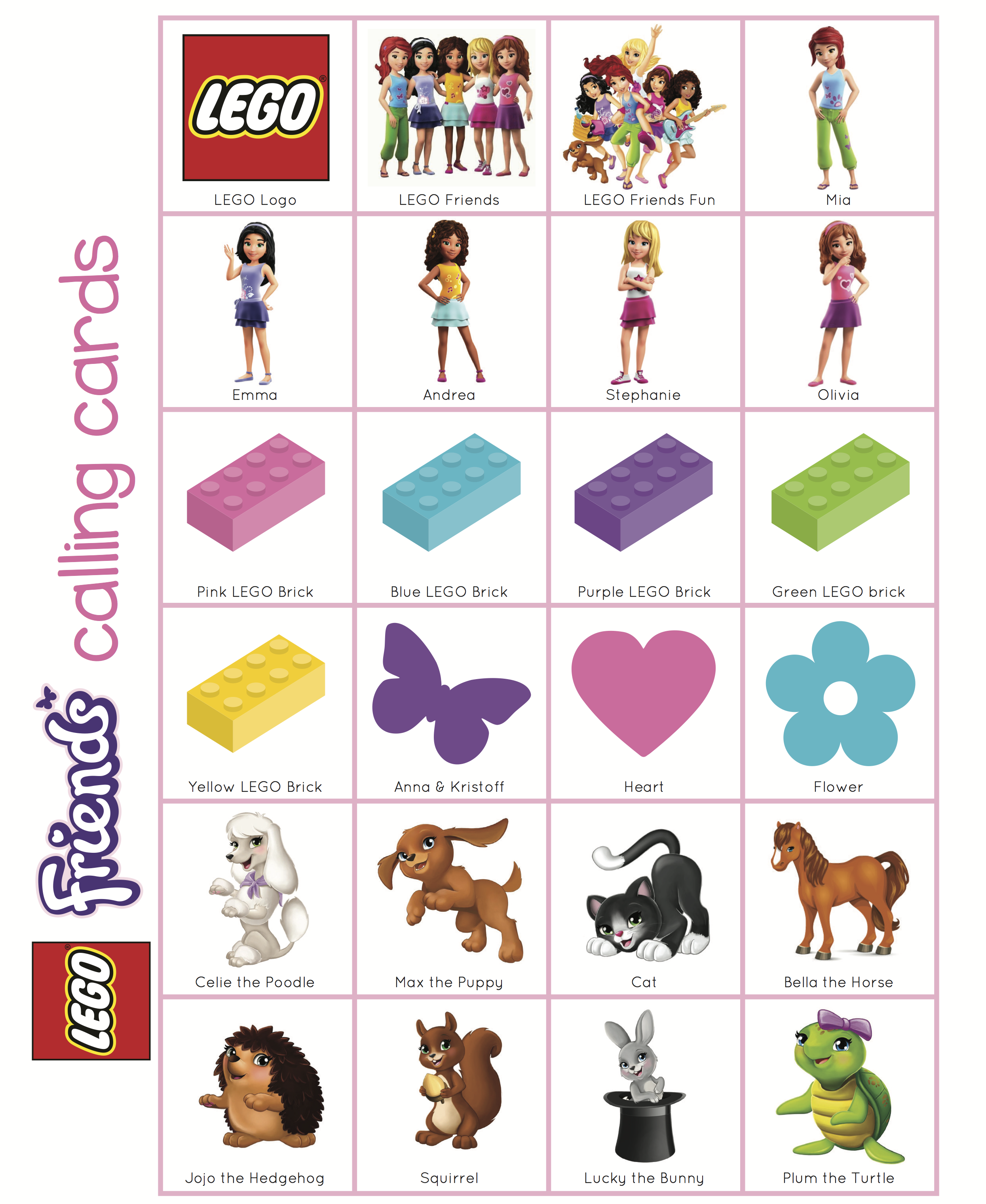 Wonder Kids Lego friends Bingo