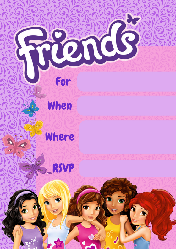 Friends Invite  - Click button below to print these great party invites, two per page of A4