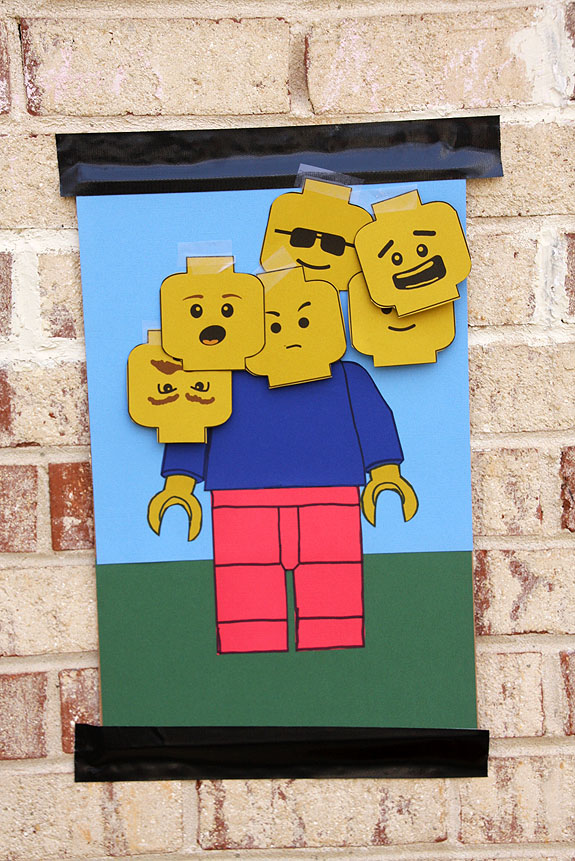 Pin the Head - Click on the picture for full details, but a great game idea for a lego party, pin the head on the lego mini figure.