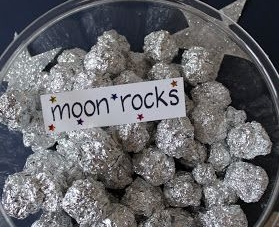 Moon Rock Hunt - It doesn't get much simpler than this, ball up some small pieces of foil and hide them around the garden/house and let the kids search for them.  Just make sure you make enough for two or three per child.