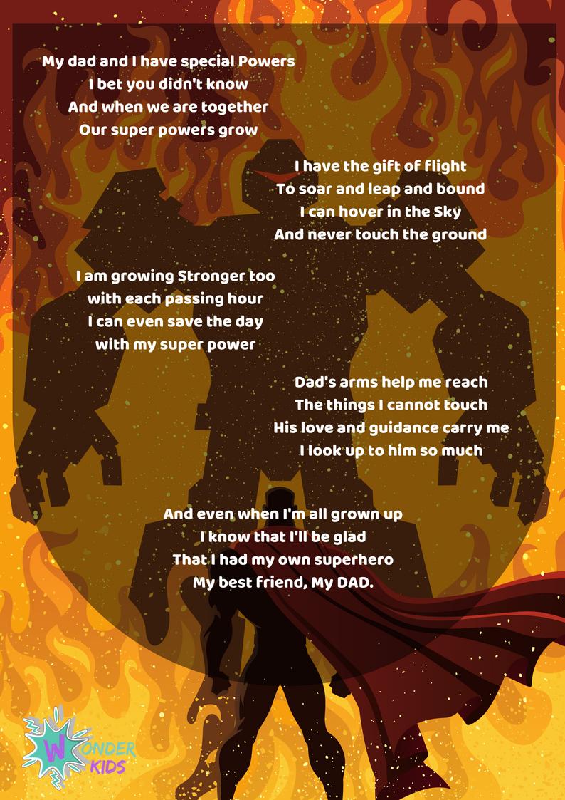 Wonder kids Fathers Day Poem