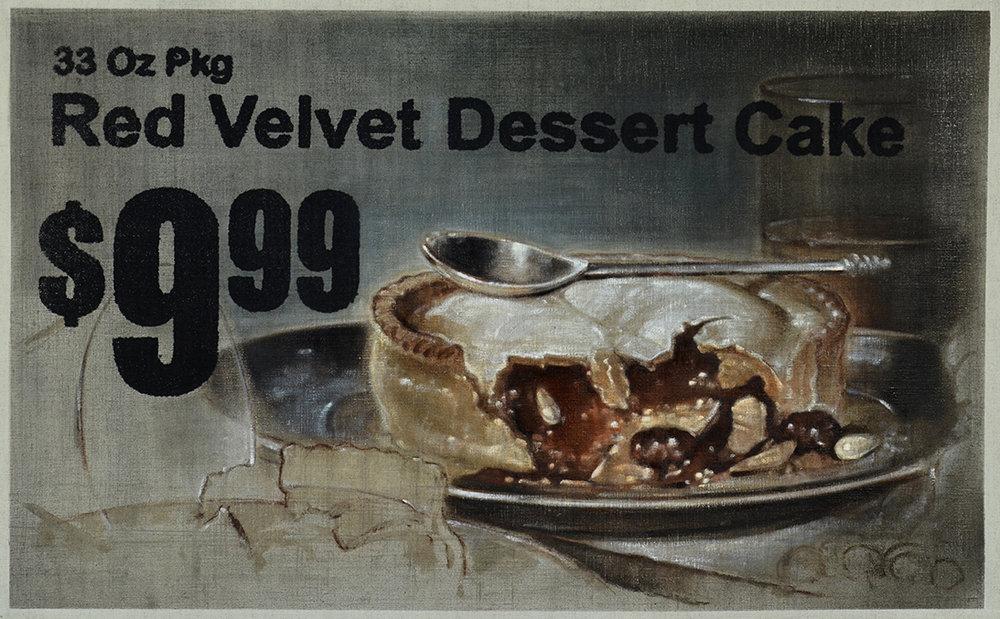 Red Velvet Dessert Cake, 2016   Oil on linen with silkscreen  20 1/2 x 33 1/2 in.