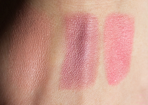 Swatches left to right: #02 Porcelain Doll #05 Cool Nude #13 Love Me