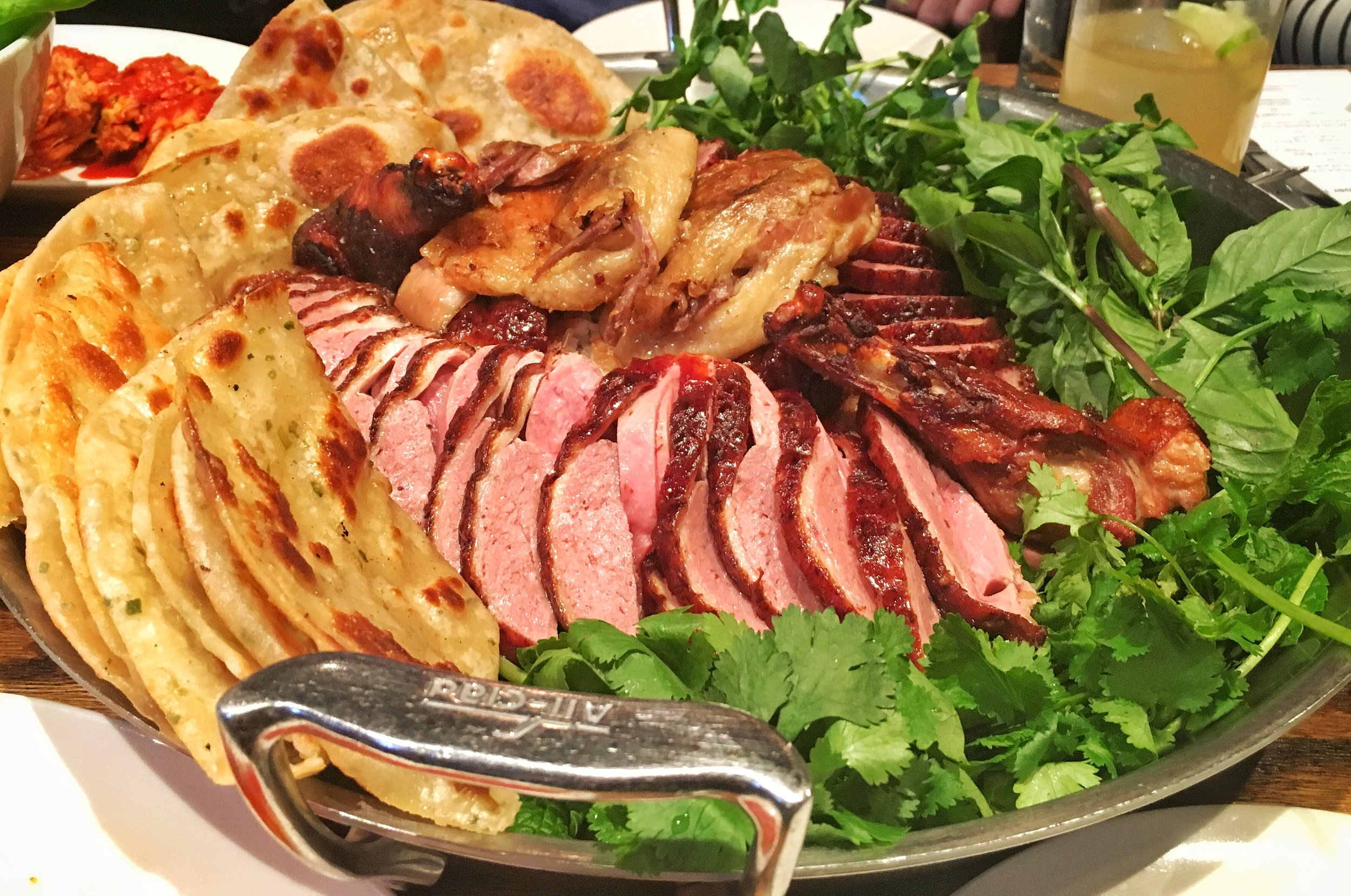 Rotisserie Duck Ssam with Chive Pancakes