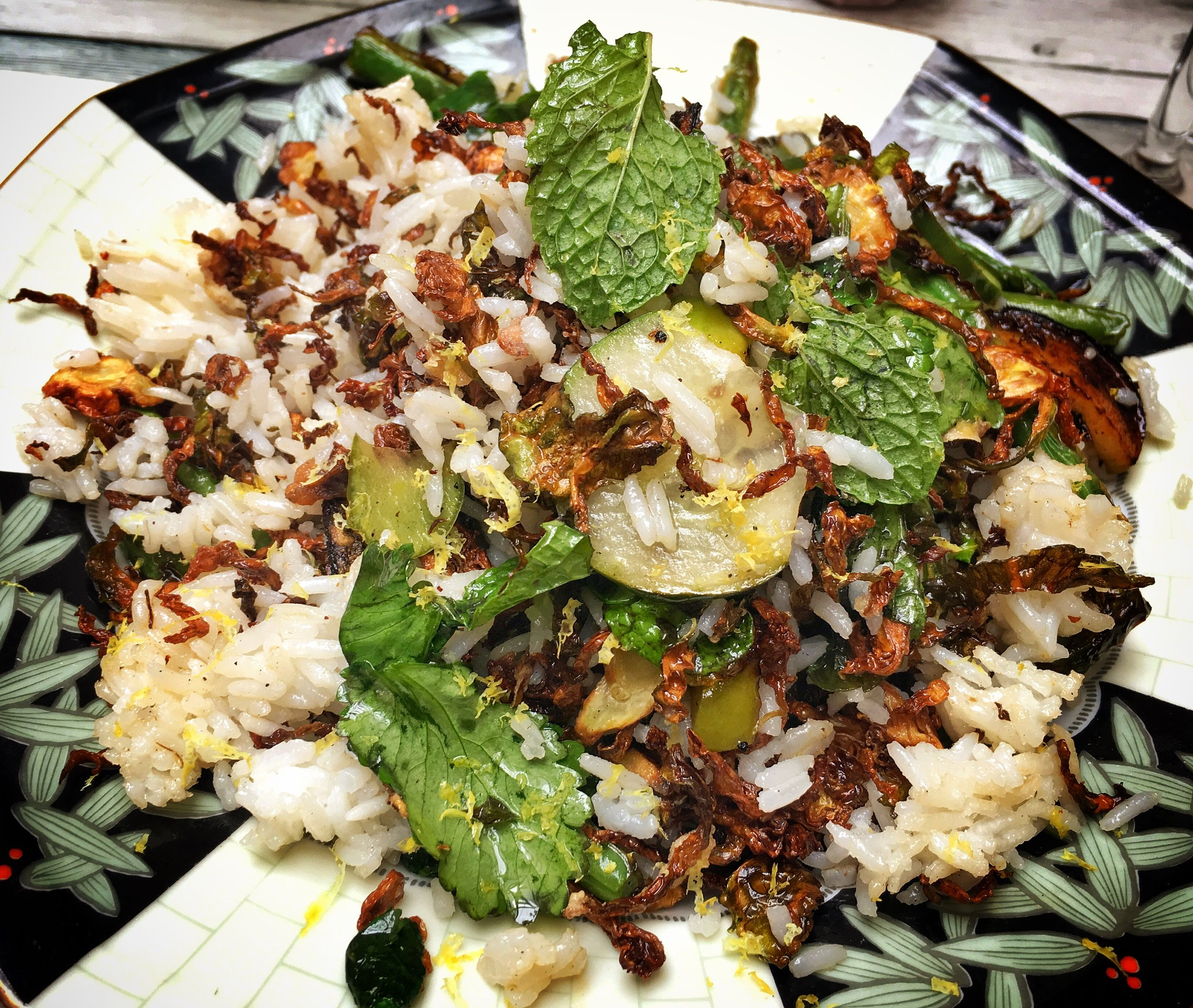 Fried Brussels Sprouts and Carolina Gold Rice