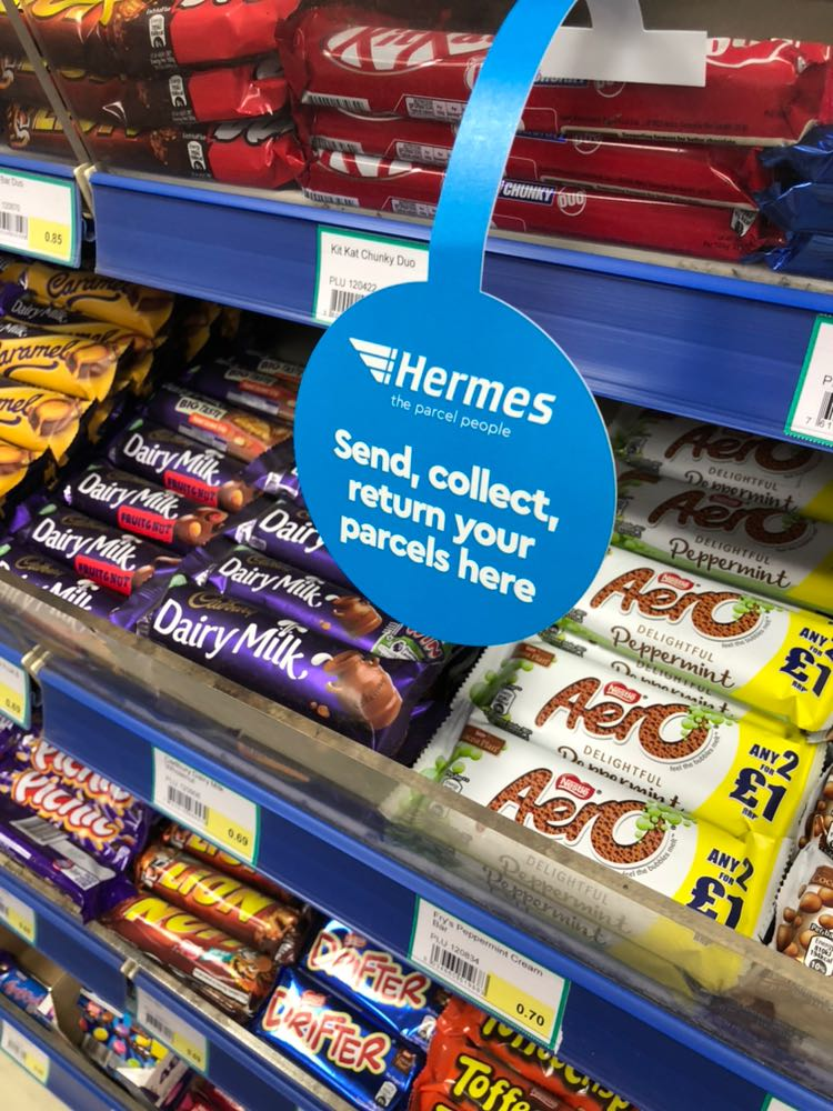Retail POS items - Example of an Shelf ad design for B2C in a convenience store./ ParcelShop