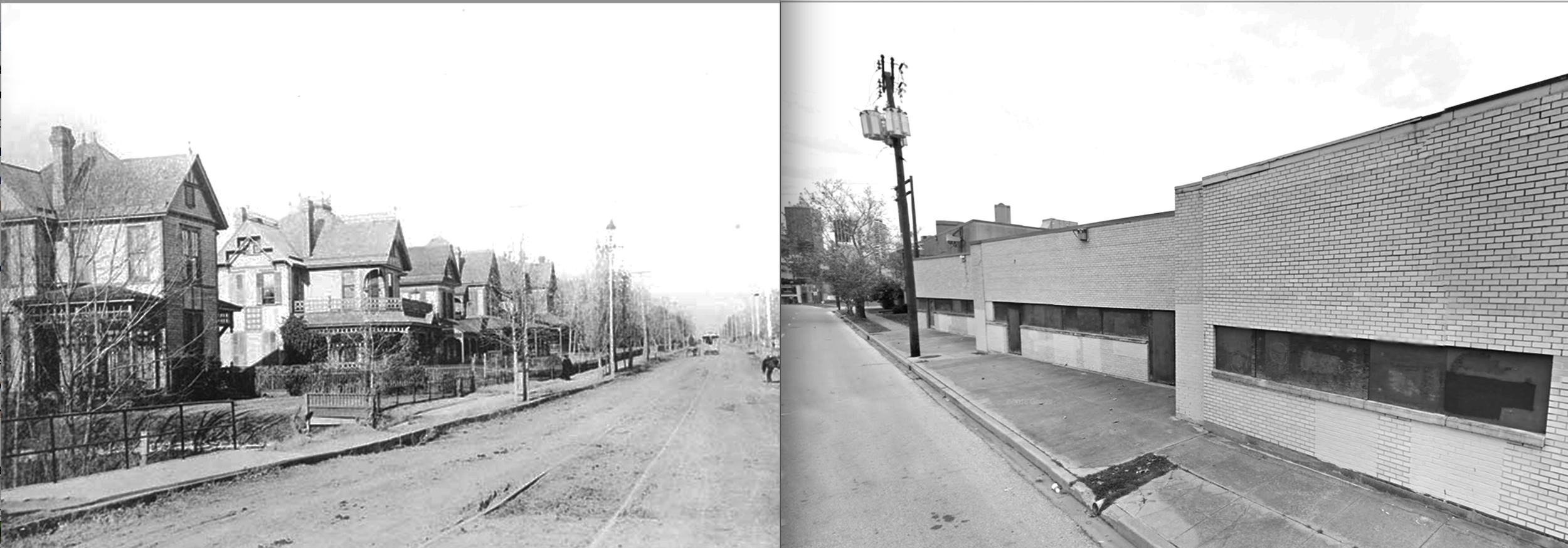 Left: Akard St. 1895Right: Akard St. 2016
