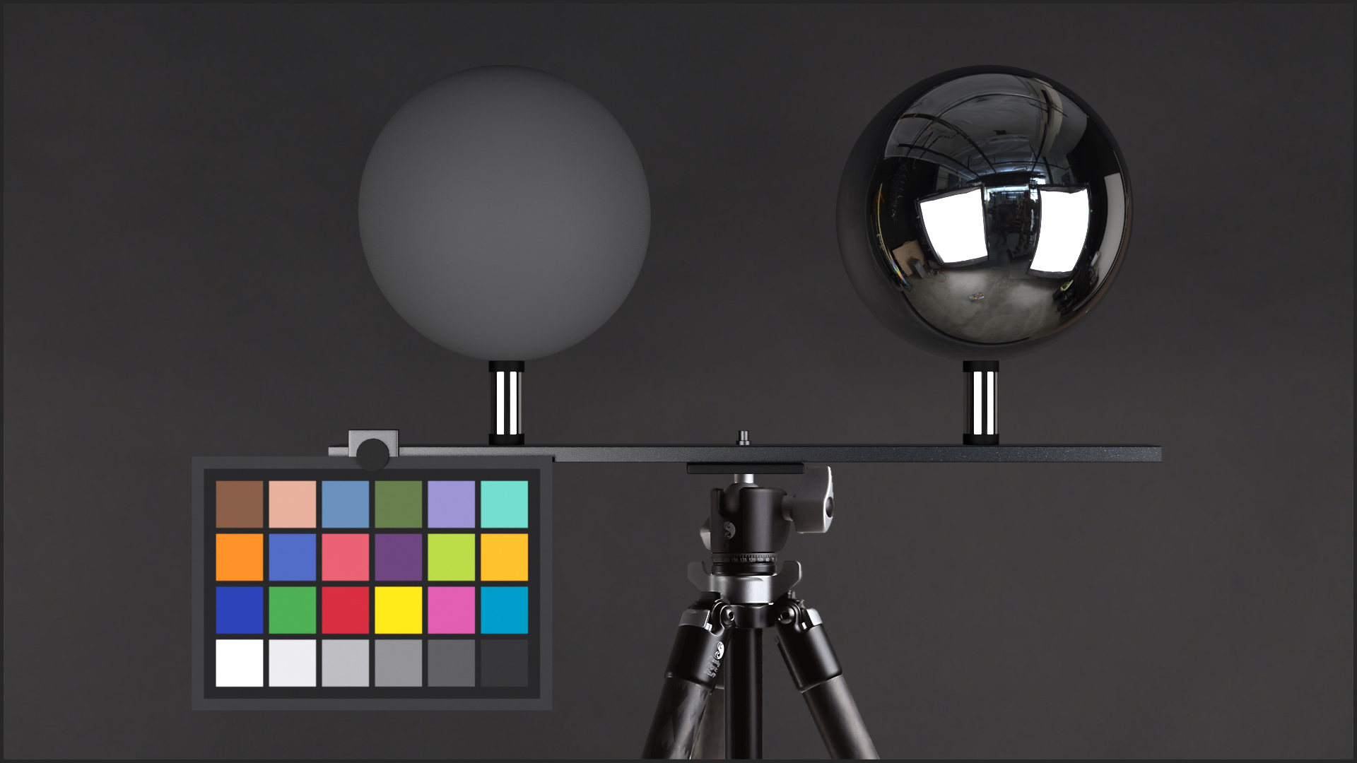 "Lighting checker ""Twins"" stainless steel plus tripod"