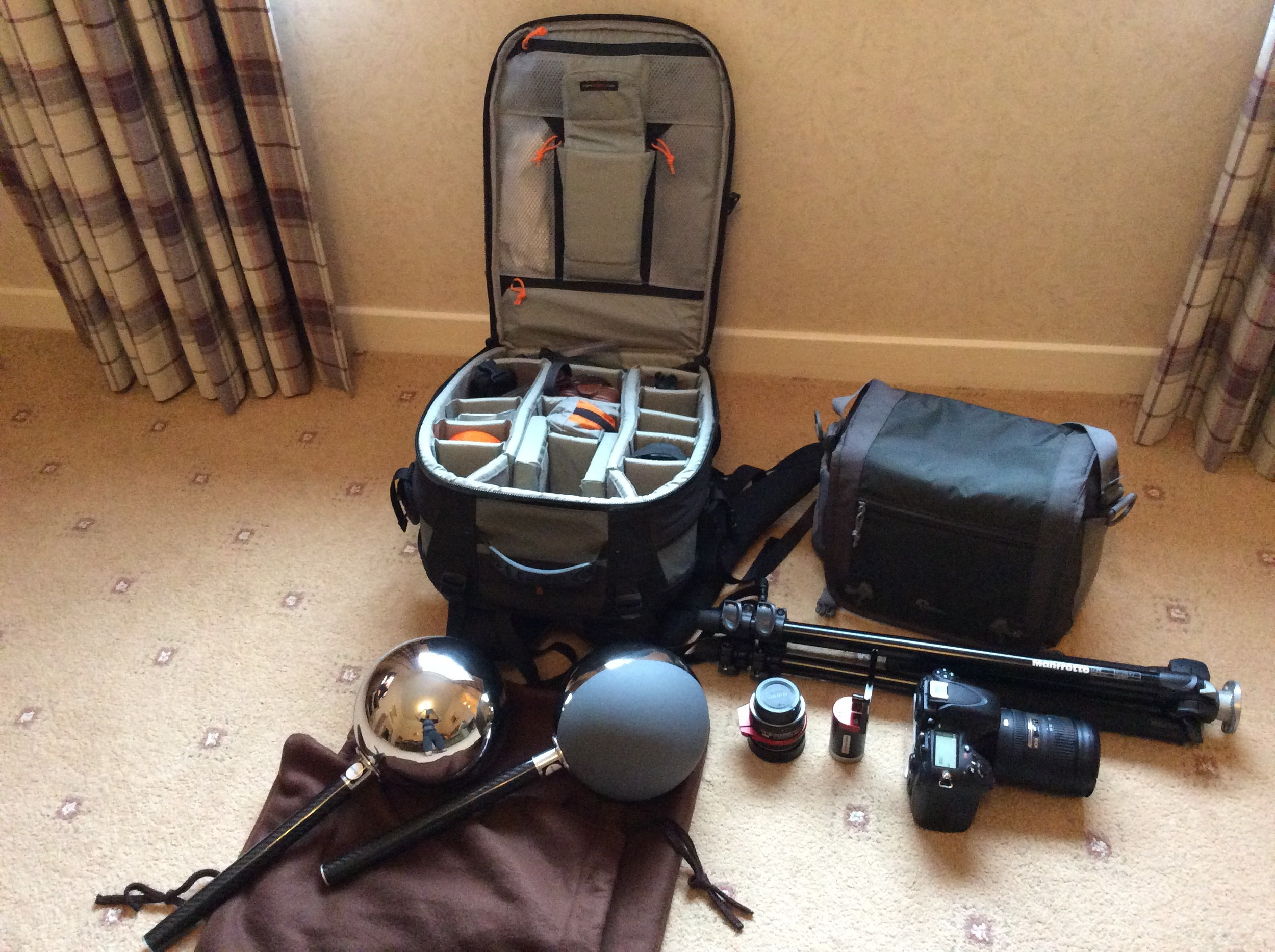 Most important assets are: Camera body, fish-eye lens, multi purpose lens, tripod, nodal head, macbeth chart and lighting checkers.