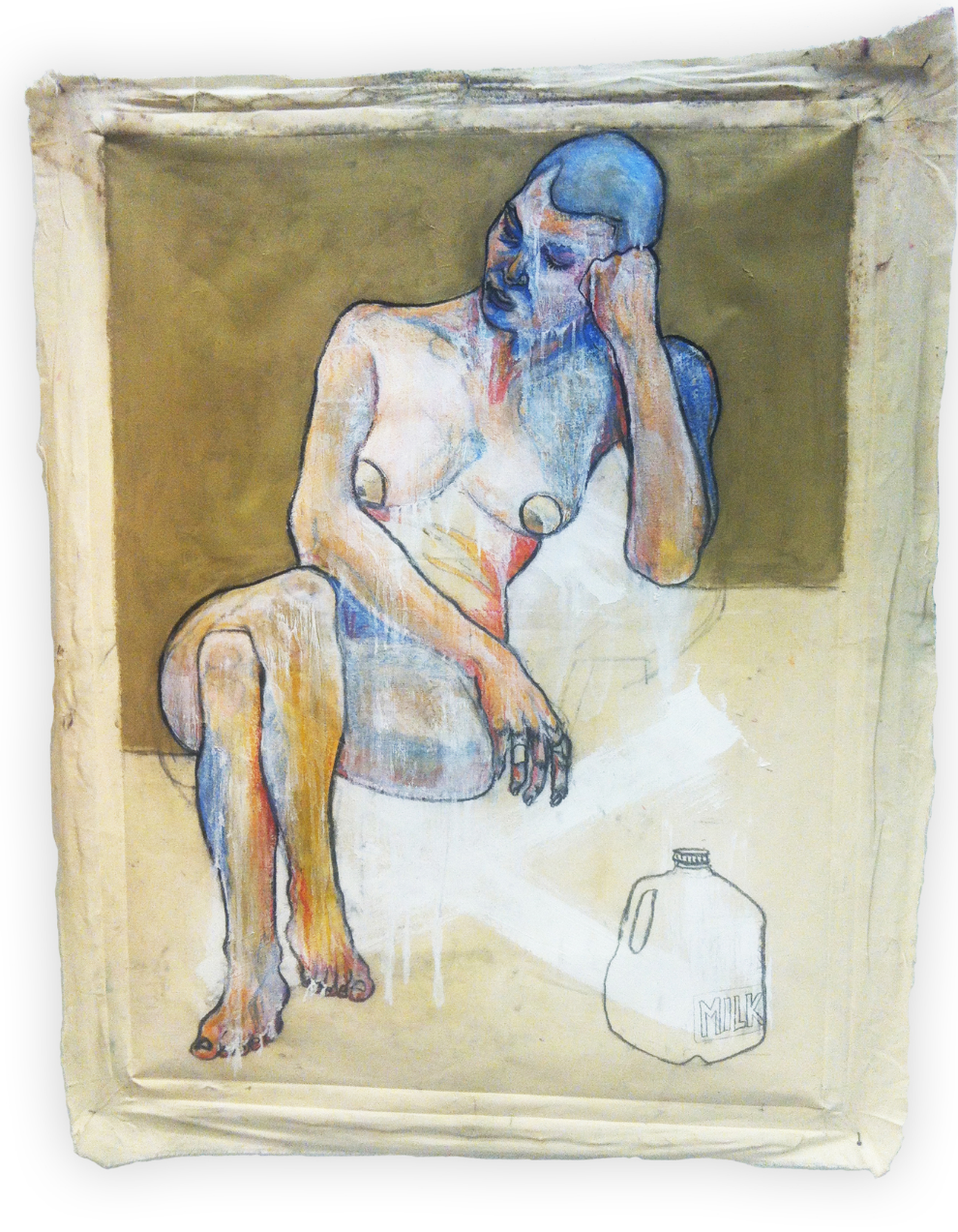 Milk Drinker, charcoal, pastel, oil and acrylic on found canvas