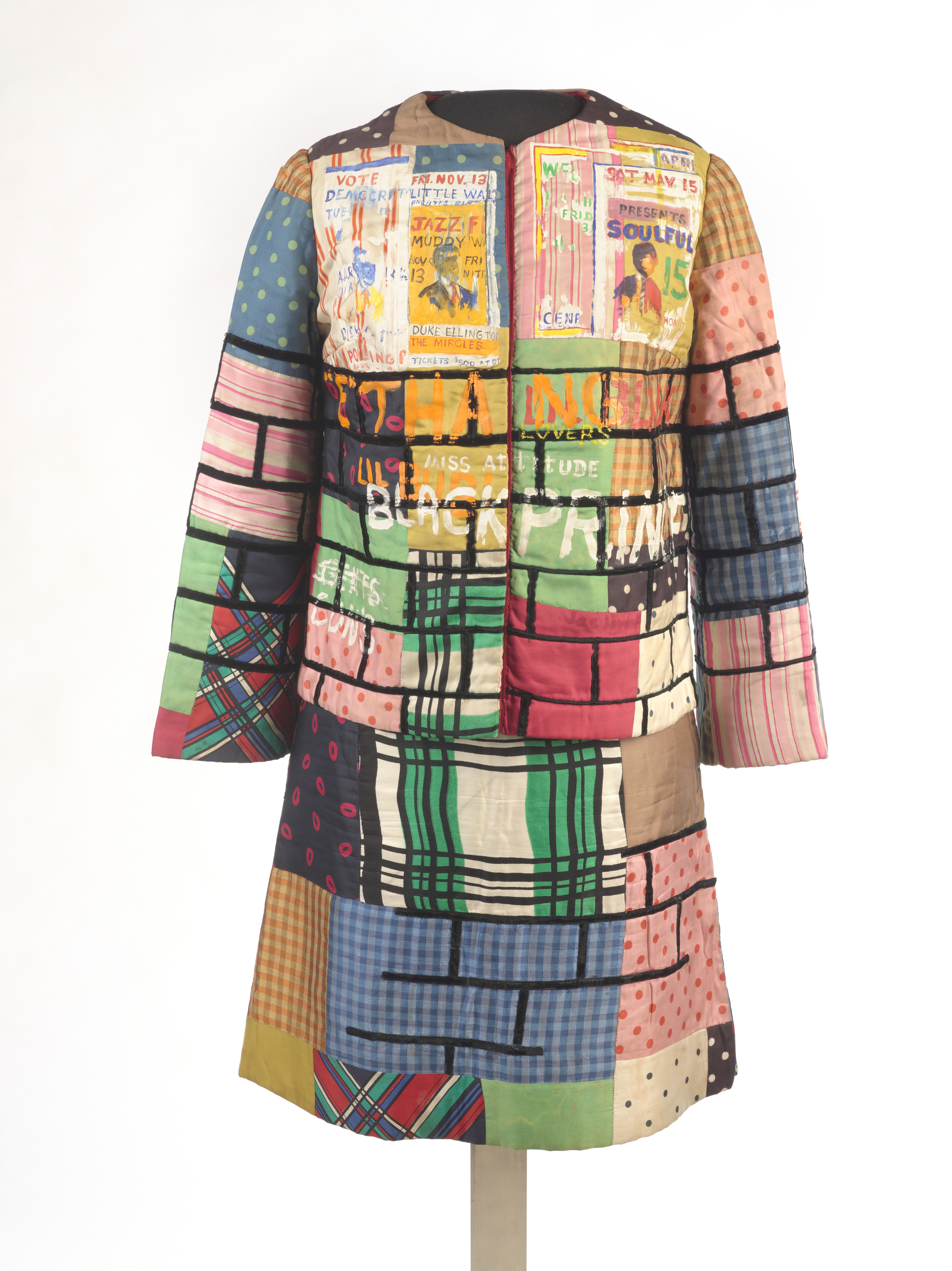 Jae Jarrell (American, born 1935). Urban Wall Suit, ca. 1969. Sewn and painted cotton and silk, two-piece suit, 37 1/2 x 27 1/2 x 1/2 in. (95.3 x 69.9 x 1.3 cm). Brooklyn Museum, Gift of R.M. Atwater, Anna Wolfrom Dove, Alice Fiebiger, Joseph Fiebiger, Belle Campbell Harriss, and Emma L. Hyde, by exchange; Designated Purchase Fund, Mary Smith Dorward Fund, Dick S. Ramsay Fund, and Carll H. de Silver Fund, 2012.80.16. © Jae Jarrell   Witness: Art and Civil Rights in the Sixties is organized by the Brooklyn Museum