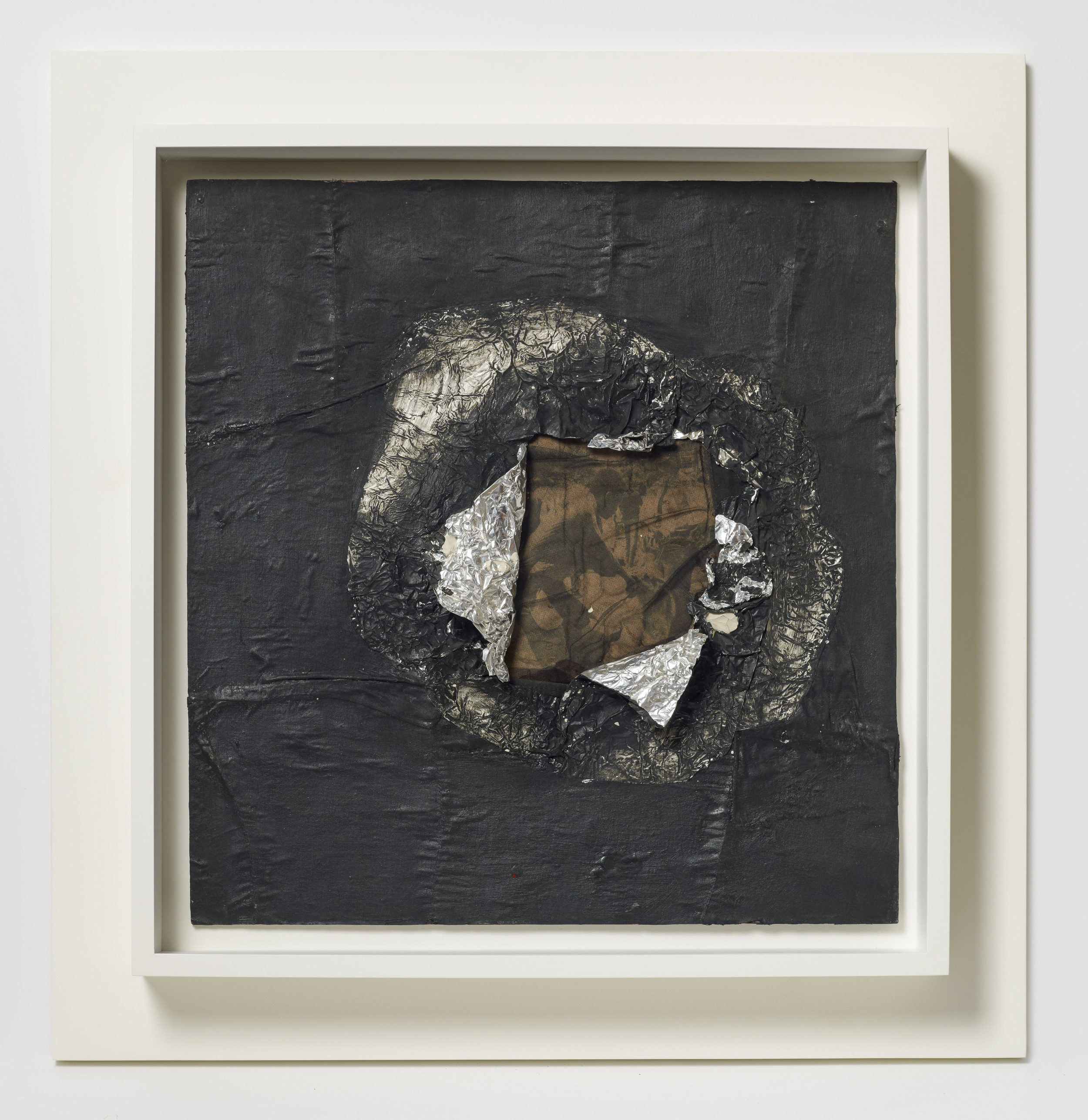 Jack Whitten (American, born 1939). Birmingham 1964. Aluminum foil, newsprint, stocking, and oil on plywood, 16 5/8 x 16 in. (42.2 x 40.6 cm). Collection of the artist, courtesy of the artist and Alexander Gray Associates, New York. © Jack Whitten    Witness: Art and Civil Rights in the Sixties is organized by the Brooklyn Museum