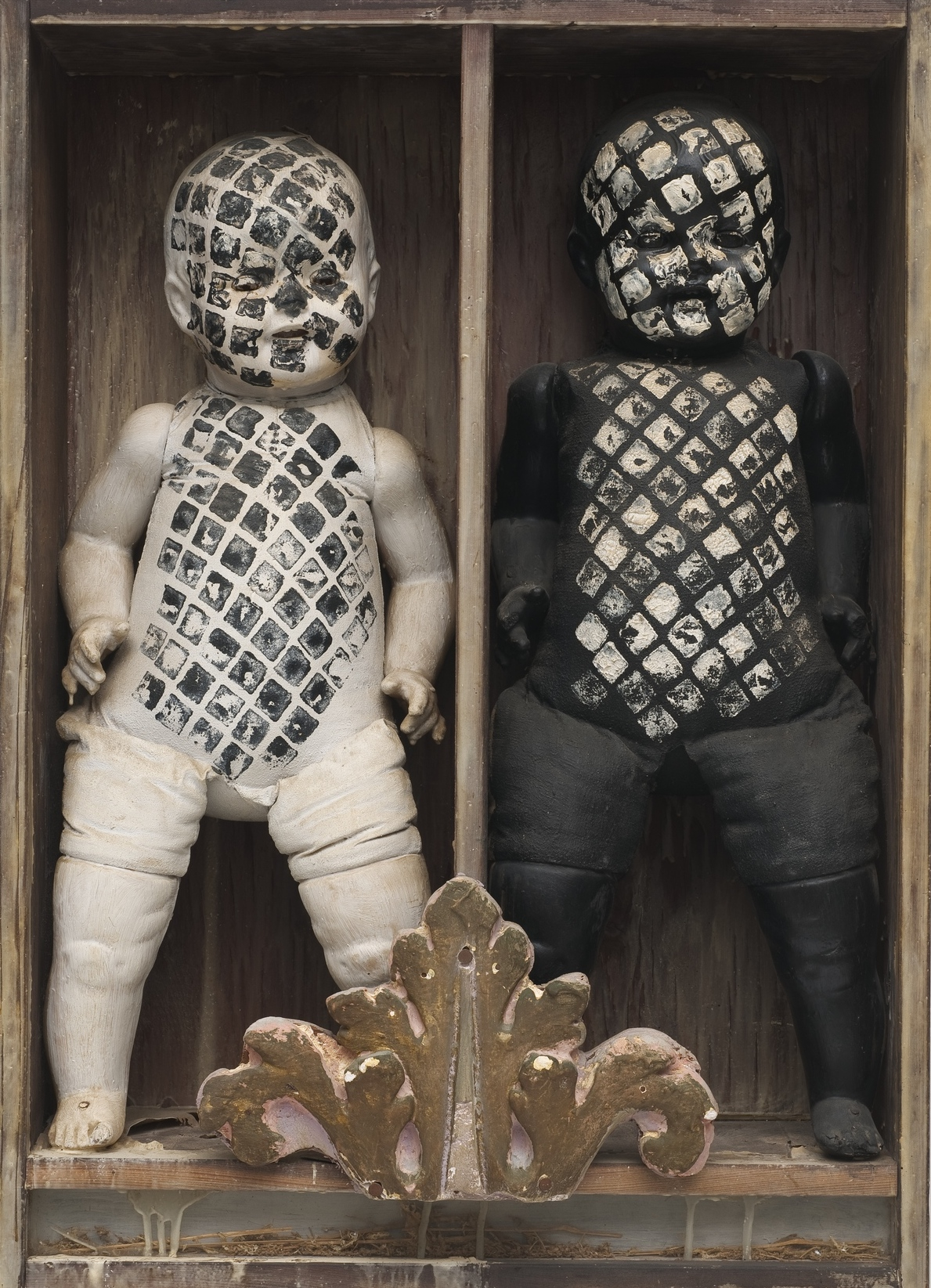 Edward Kienholz (American, 1927-1994). It Takes Two to Integrate (Cha, Cha, Cha), 1961. Painted dolls, dried fish, glass in wooden box, 31 1/4 x 22 1/2 x 7 1/2 in. (79.4 x 57.2 x 19.1 cm). Collection of David R. Packard and M. Bernadette Castor, Portola Valley, CA © Kienholz. Photo: Courtesy of L.A. Louver, Venice, California  Witness: Art and Civil Rights in the Sixties is organized by the Brooklyn Museum