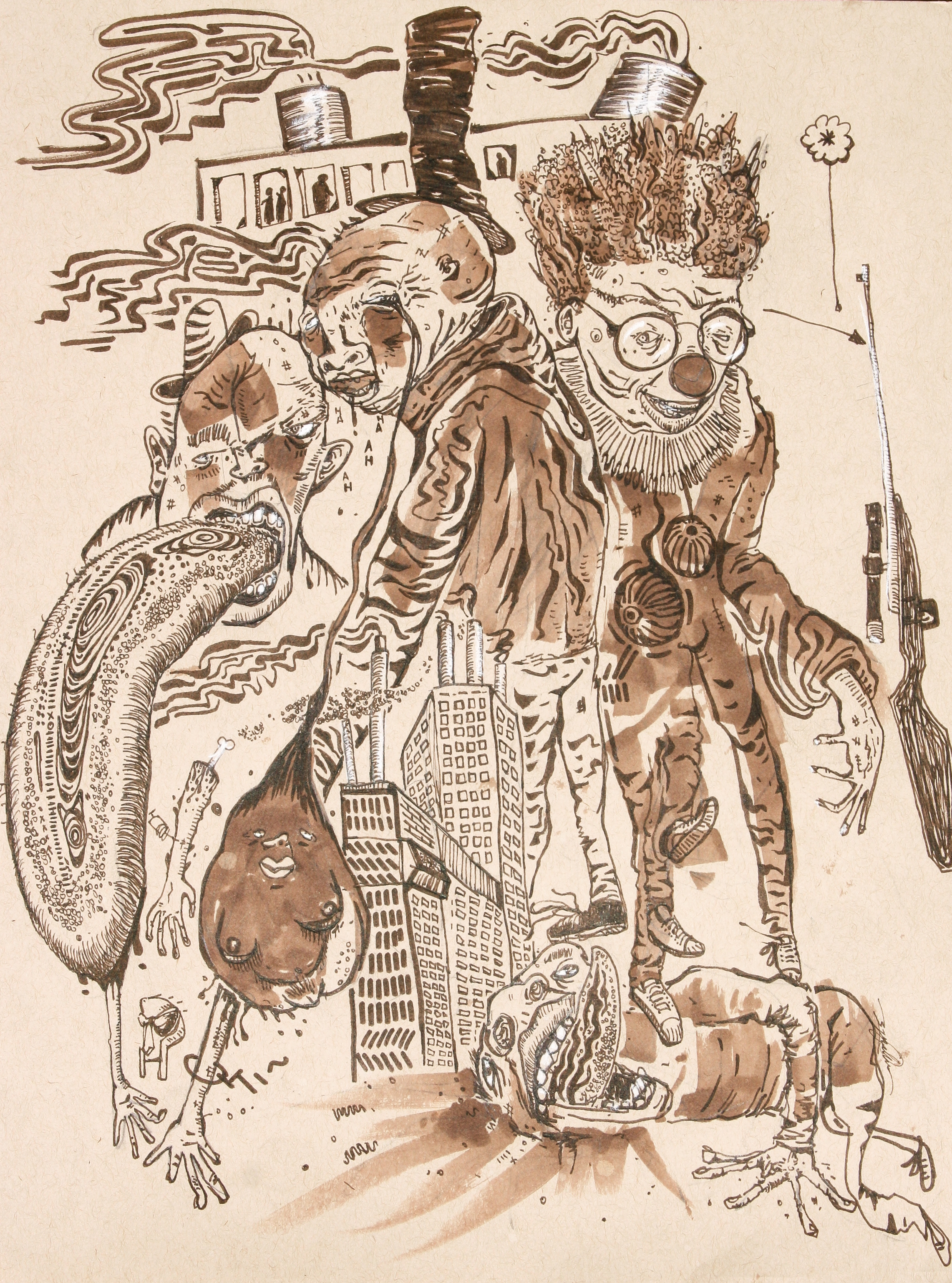'Fancy Clown' - Visualization of the narrative present in 'Fancy Clown' by Madvillian. Early illustration portraying a strong likeness for violent and sexual content.