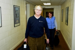 Gary Cooper, current Kiwanis Governor, and his wife Debbie Cooper carrying in their luggage for the fun-filled weekend in Black Mountain!