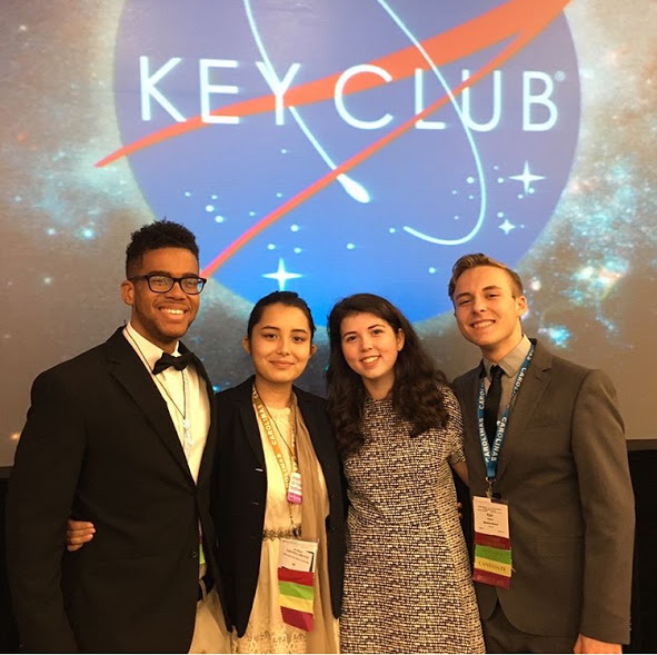 The 2017-2018 Carolinas District Key Club Executive Board. (From left to right) Avery Freeman, District Treasurer, Isabelle Salzmann, District Secretary, Katie McNiffe, District Governor, Kyle Ingram, District Editor