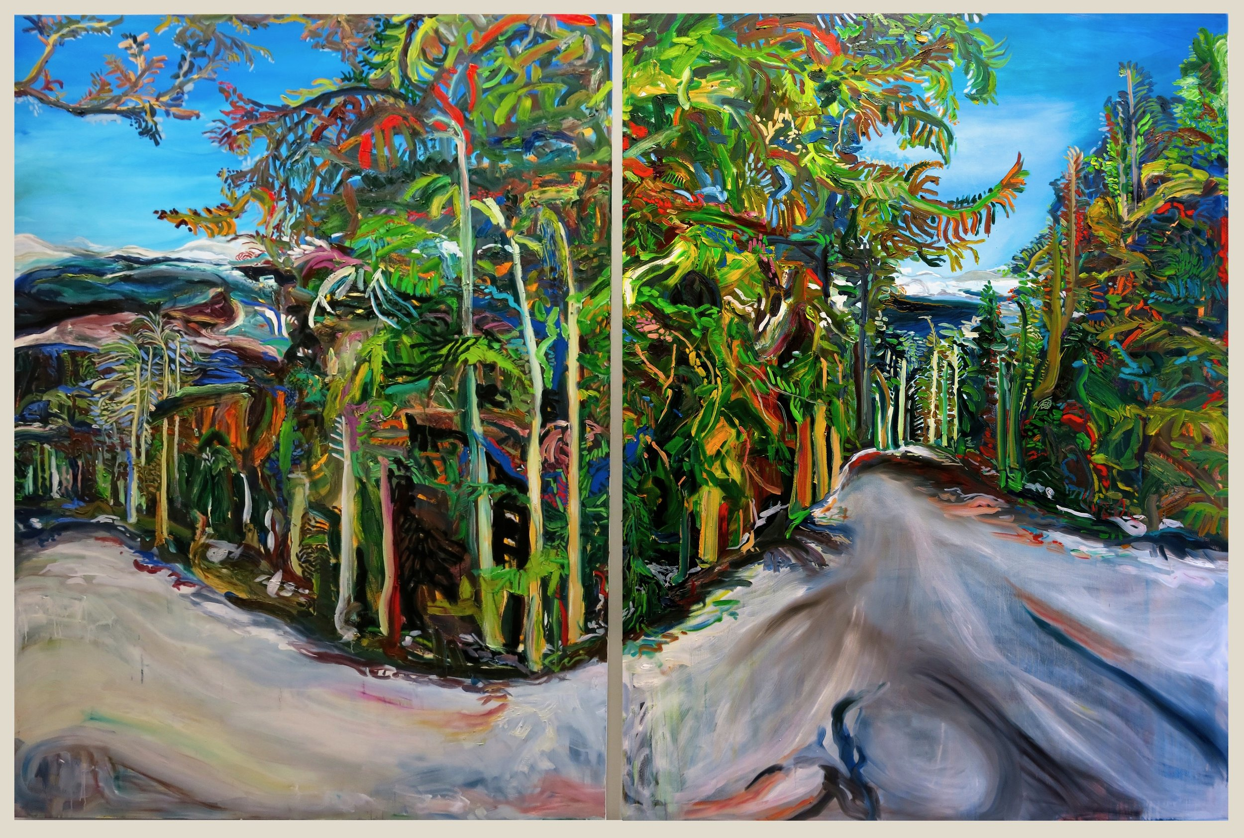 Beaver Creek   Winner of the M H Hicks Prize and exhibited at the 2015 Annual Juried Student Exhibition, David Winton Bell Gallery April 10th-25th.  Oil on canvas, 12ft by 8ft diptych (Two panels of 6ft by 8ft canvases)  Hand-built wooden canvas  Brown University Granoff Collection More detailed images at Folkmade Shop: at: http://www.folkmade.org/susans-shop/beaver-creek