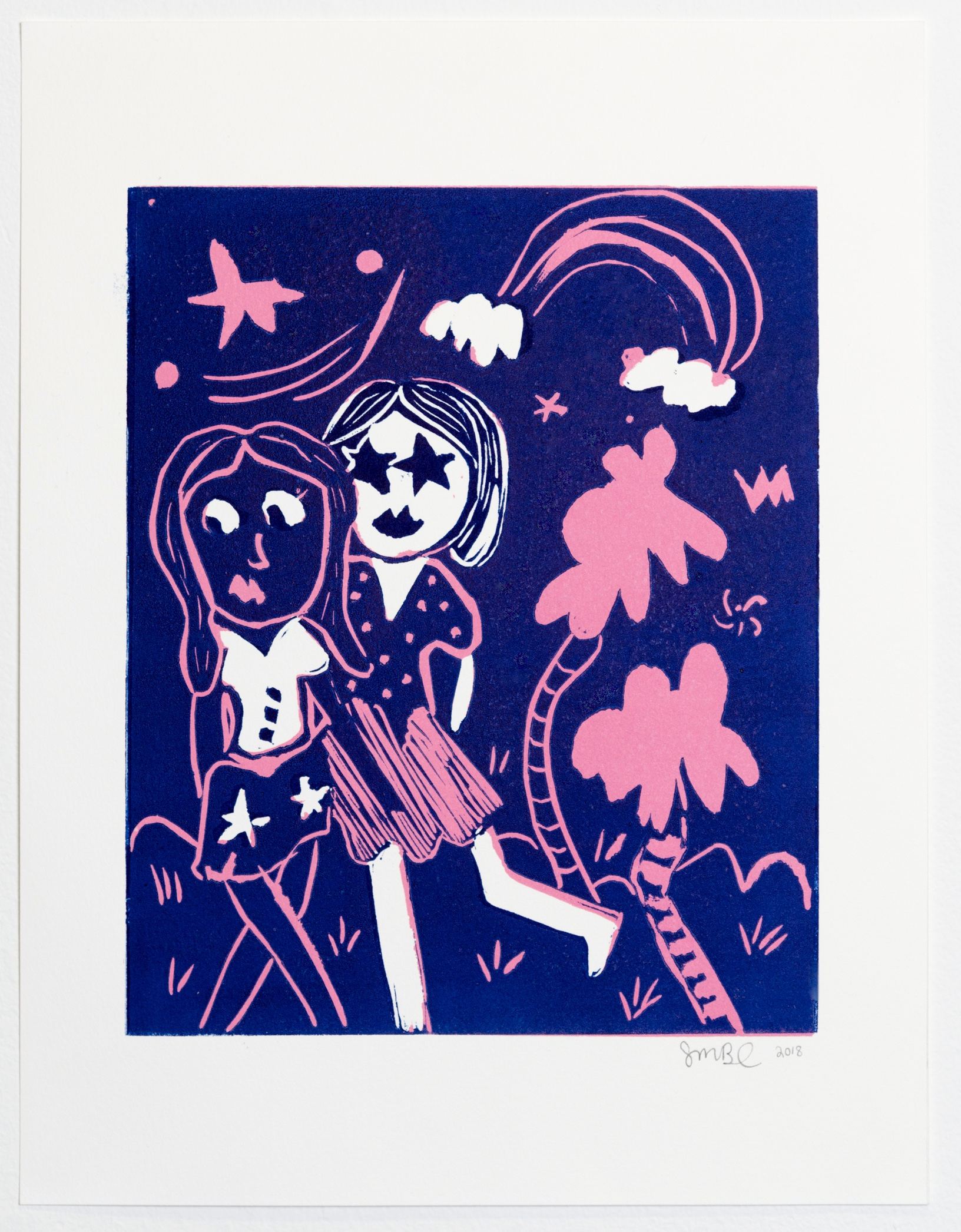 "You, Me, Two Trees, 2018 Linocut, 11"" x 14"" Edition: tbd"