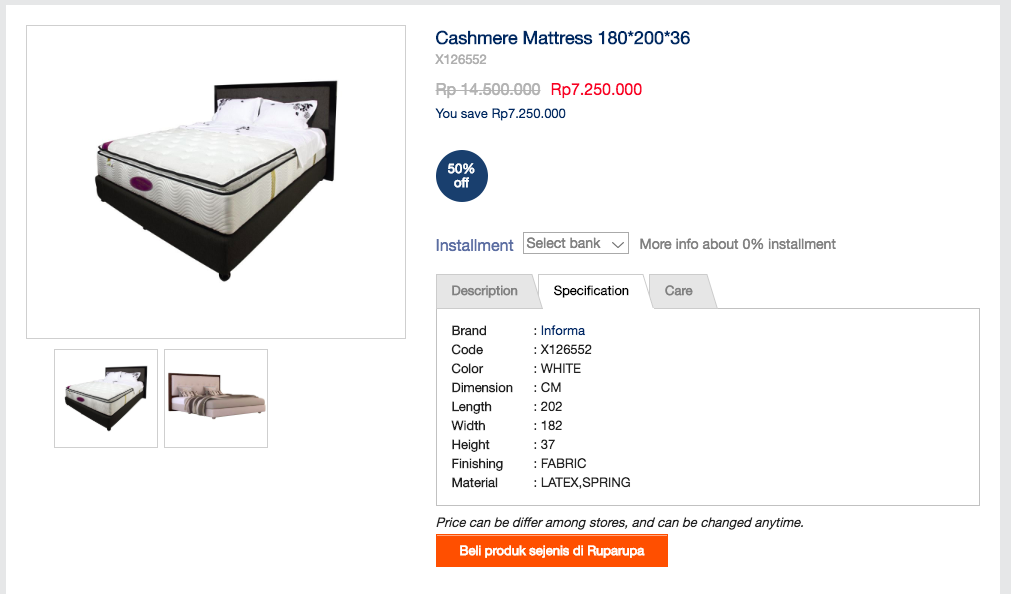 Medium firm latex spring mattress with attached pillow top and mattress protector. Purchased for RP7.250.000, selling with frame for 6 juta. 2 years old, near perfect condition.