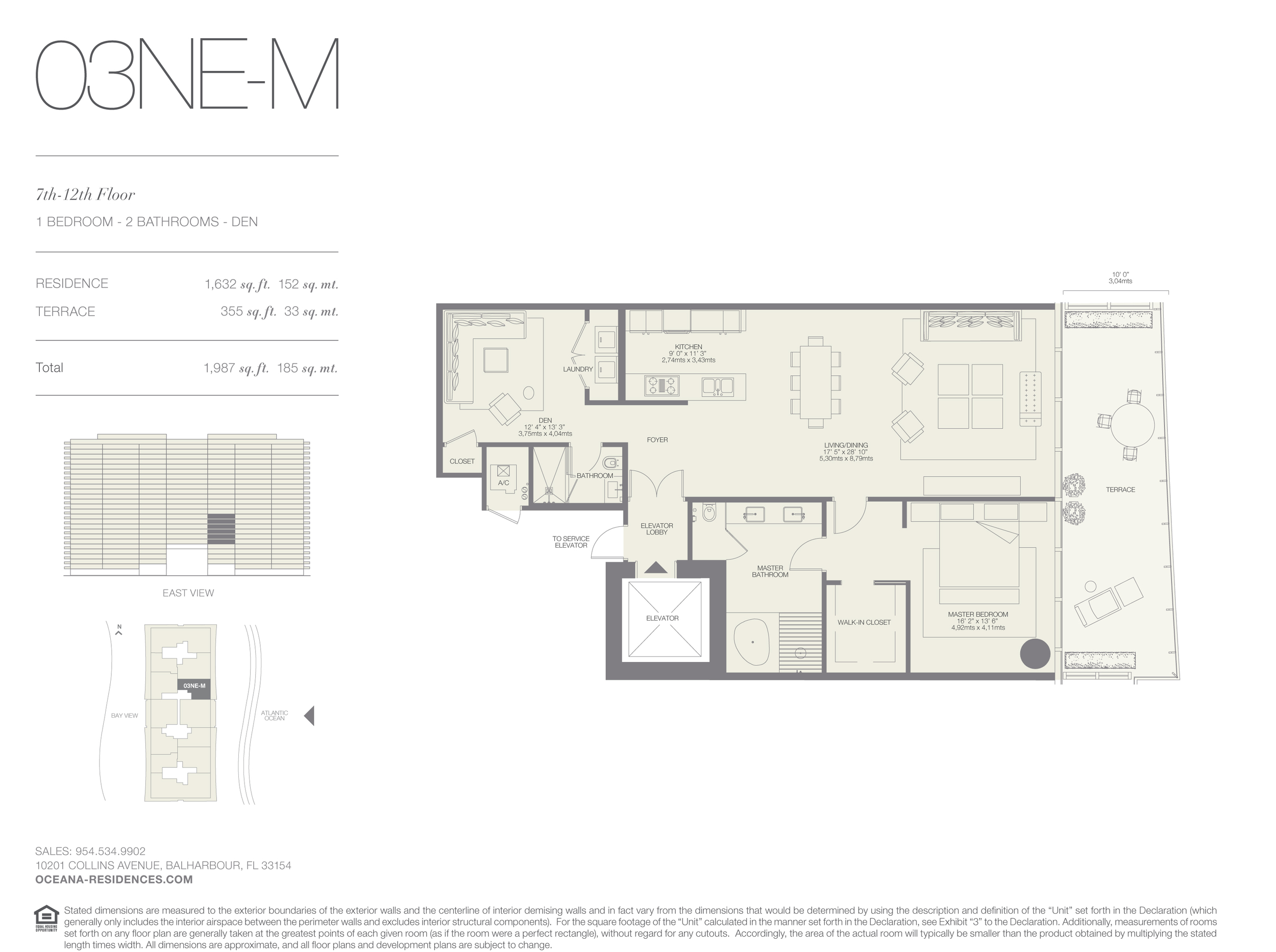 03 NE-M  1 Bed - 2 Bath plus Den