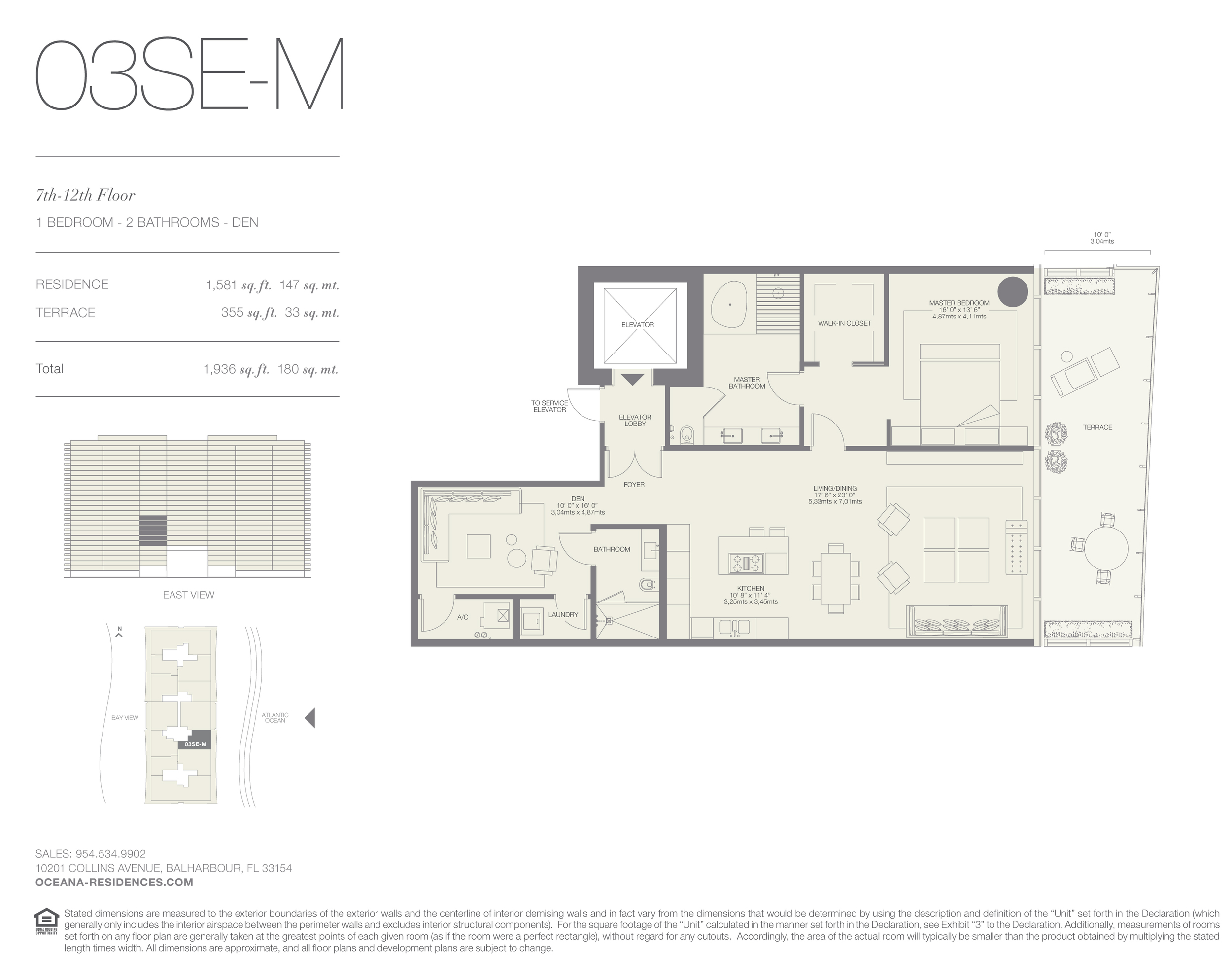 03 SE-M  1 Bed - 2 Bath plus Den