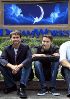 Zach and Adam in front of dreamworks