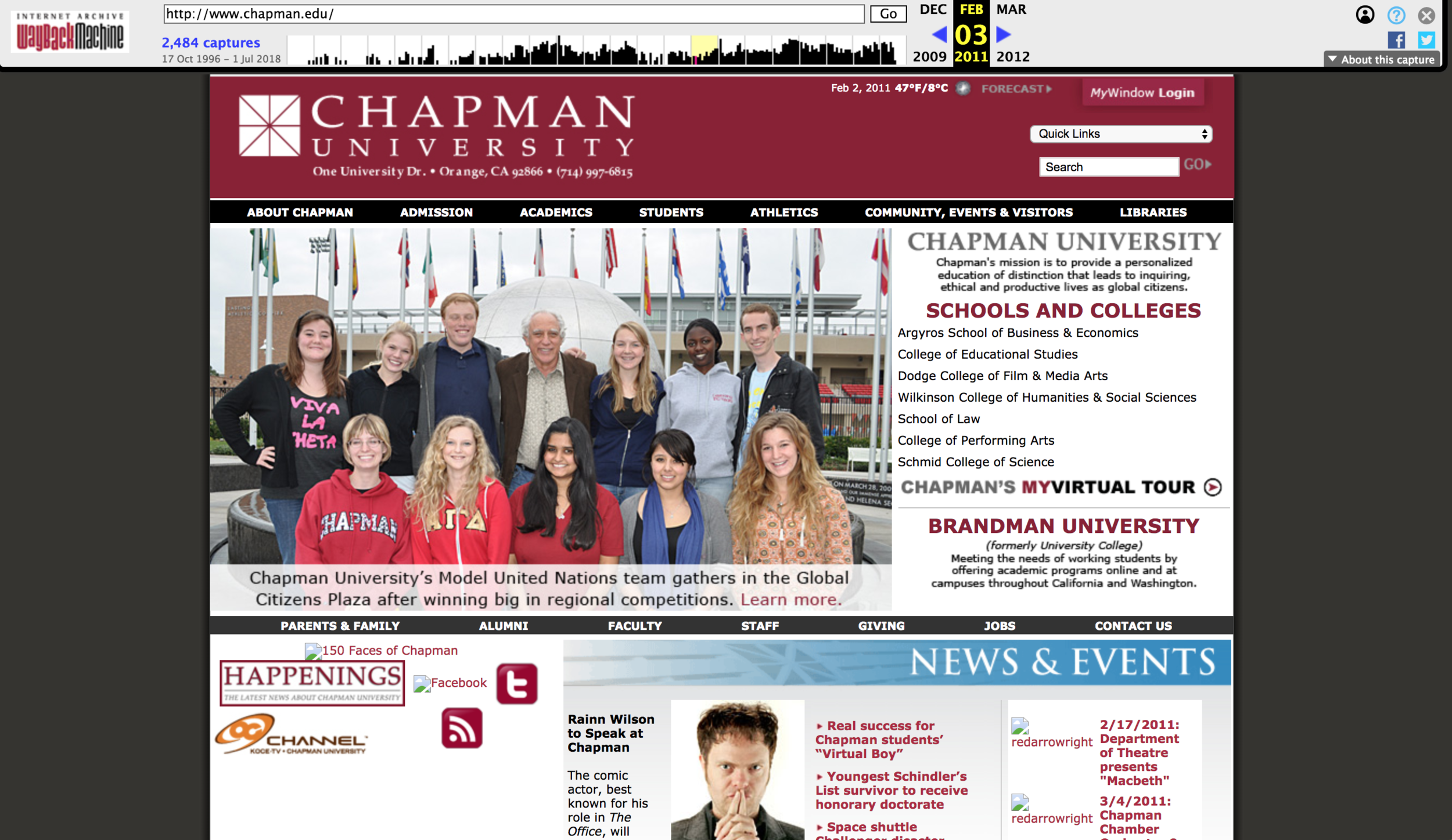 Chapman University's Website in 2011.
